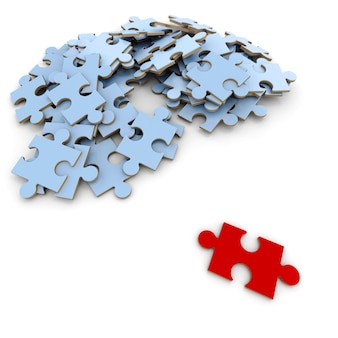 3d-rendering rotes puzzleteil im kontrast zum rest