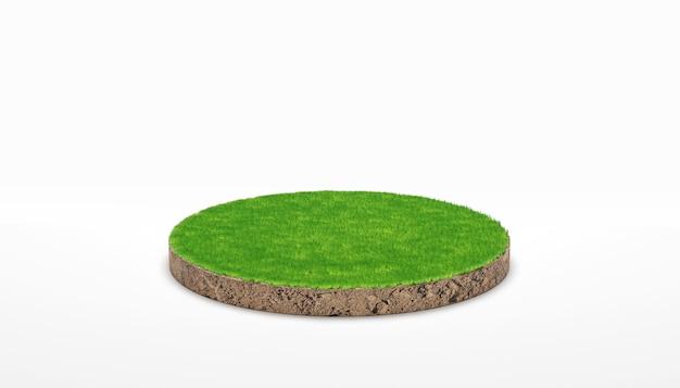 3d-rendering. runder bodengrundquerschnitt mit grünem gras auf weißem hintergrund.