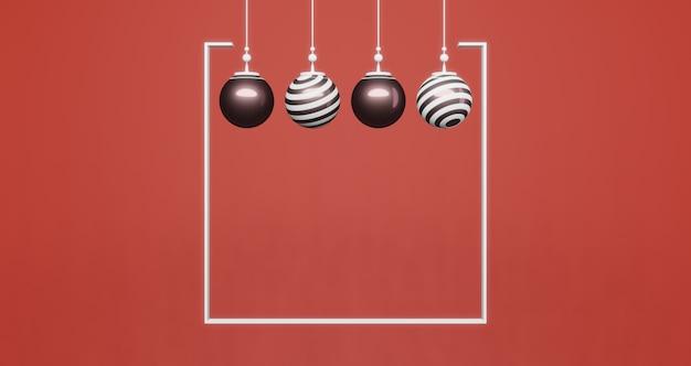 3d-rendering. satz goldene bälle innerhalb des weißen rahmens auf rotem hintergrund. abstraktes minimales konzept