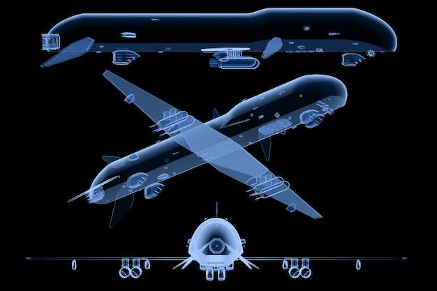 3d-rendering-satz von militärdrohnen x-ray isoliert auf schwarz