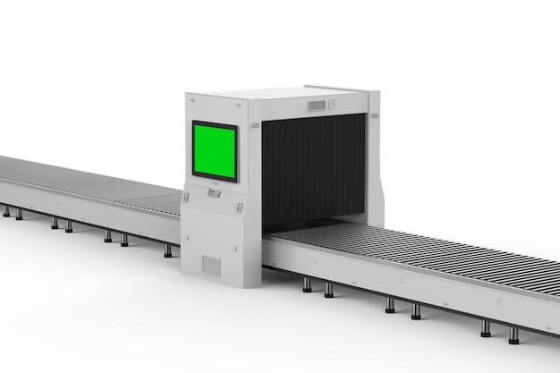 3d-rendering-scanner-maschine mit leerem monitor und förderband