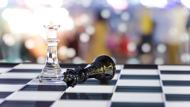 3d-rendering. schachbrettspiel für leadership concepts.