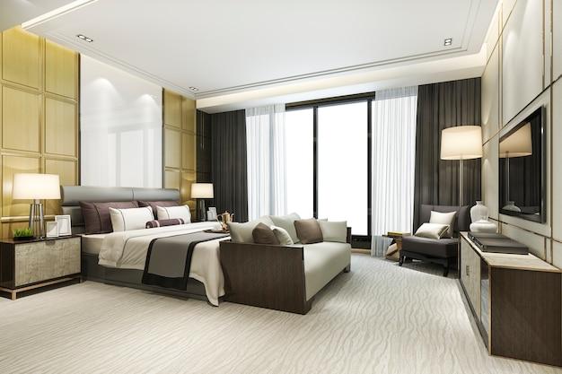 3d-rendering schöne luxus-schlafzimmer-suite im hotel mit tv