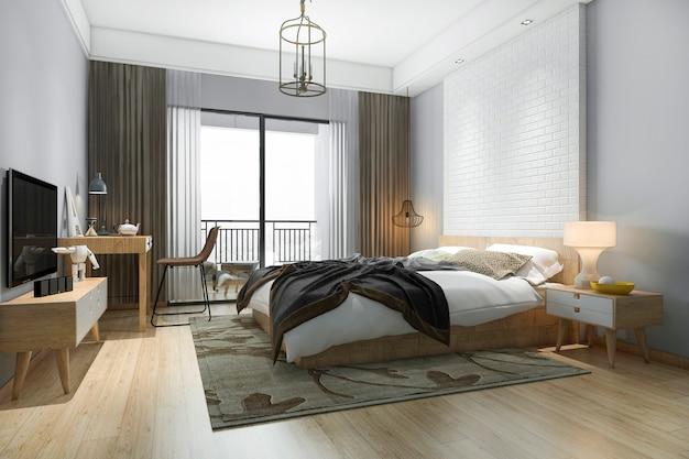 3d-rendering schöne minimale schlafzimmer-suite im hotel mit fernseher