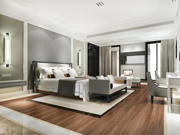 3d-rendering schöne zeitgenössische luxus-schlafzimmer-suite im hotel mit fernseher und sofa