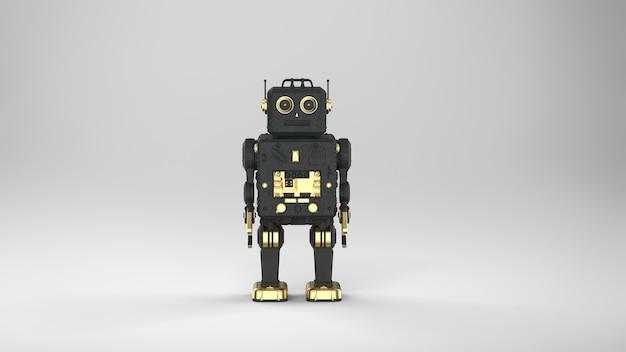 3d-rendering schwarzer ai-roboter oder cyborg auf grauem hintergrund