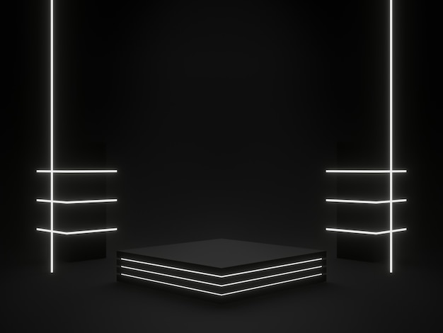 3d-rendering schwarzer geometrischer sci-fi-produktständer mit weißem neonlicht