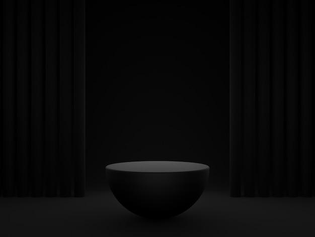 3d-rendering. schwarzer halbkugel-produktständer. dunkler hintergrund.