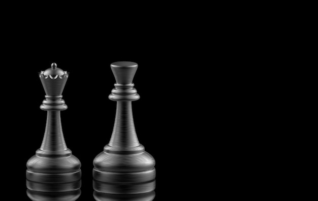 3d-rendering. schwarzer könig und königinschach auf schwarzem.