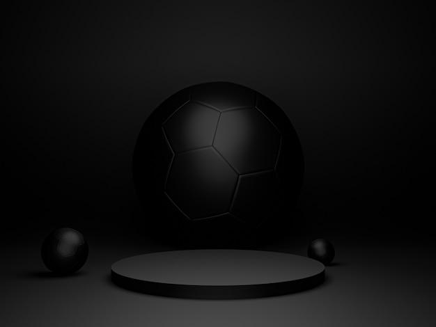 3d-rendering schwarzer ständer und schwarzer kugelhintergrund