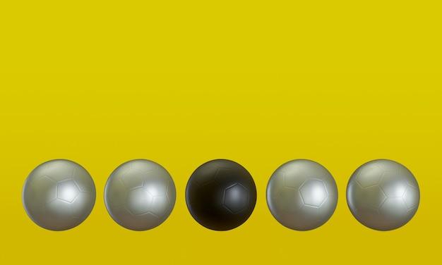 3d-rendering. schwarzer und silberner fußball auf gelbem hintergrund