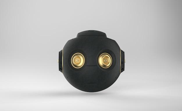 3d-rendering schwarzes ai-roboterspielzeug oder cyborg auf grauem hintergrund