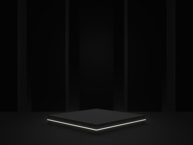 3d-rendering. schwarzes geometrisches bühnenpodest. dunkler hintergrund.