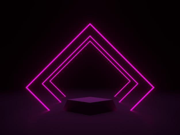 3d-rendering. schwarzes podium mit rosa neonlichtern.