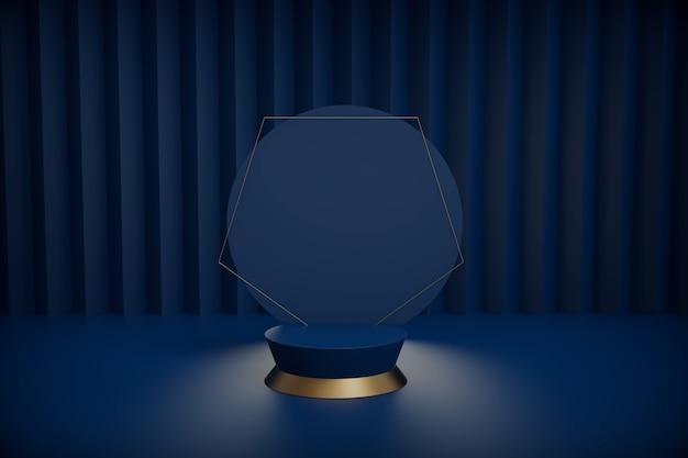 3d-rendering-schwarzpodestgeometrie mit goldelementen.