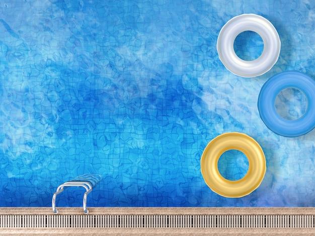 3d-rendering-schwimmring auf der draufsicht des pools