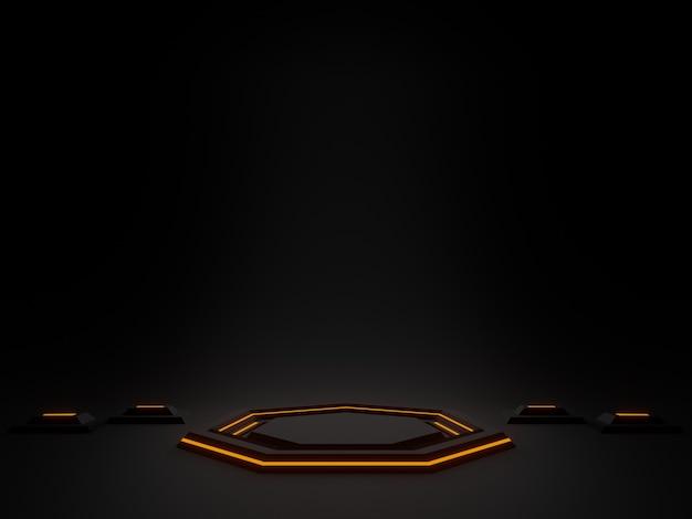 3d-rendering sci fi-produktständer