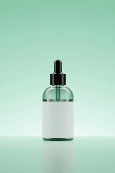 3d rendering serum grüne flasche.