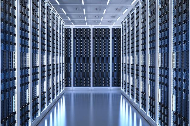 3d-rendering-serverraum oder rechenzentrum