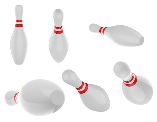 3d-rendering-set von bowling-pins isoliert auf weißem hintergrund