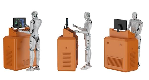 3d-rendering-set von cyborgs arbeiten mit bedienfeld isoliert auf weiß