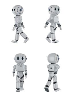 3d-rendering-set von niedlichen robotern der künstlichen intelligenz gehen in vier winkeln