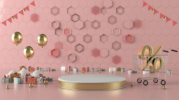 3d-rendering shopping abstrakte geometrische formszenenkonzeptdekoration