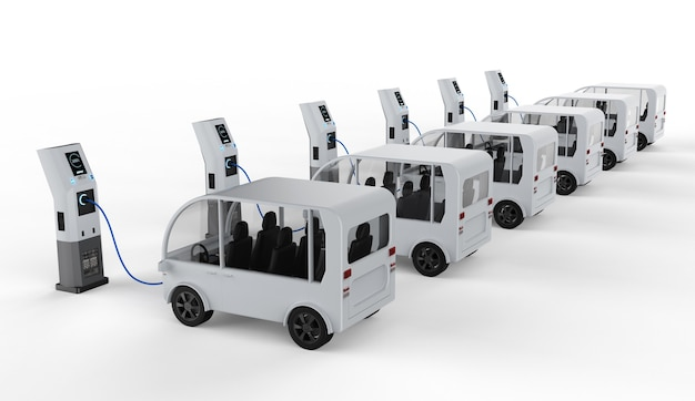 3d-rendering-shuttle-bus-ladung mit elektrischer ladestation