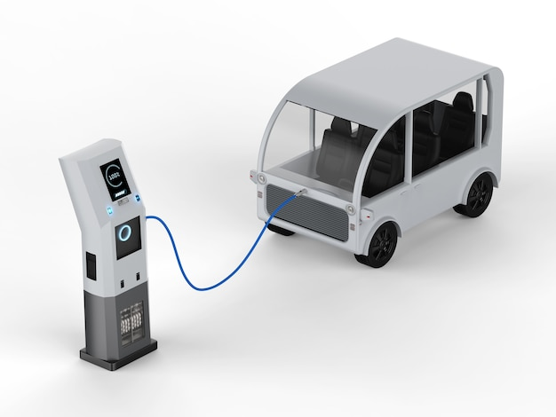 3d-rendering shuttlebus lädt mit elektroladestation