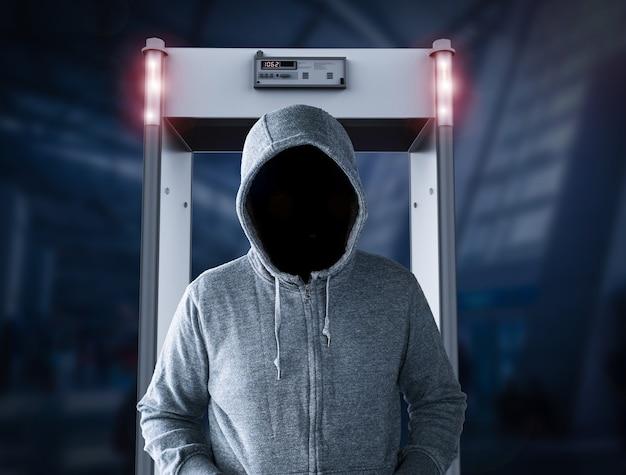 3d-rendering-sicherheitstoralarm mit leerem gesicht mann durchgehen