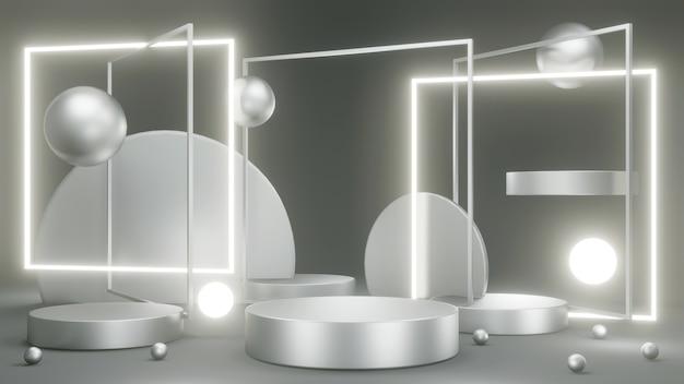 3d-rendering silber podium produktpräsentationsständer mit abstraktem geometrischem led-licht