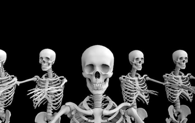 3d-rendering. skeleton knochen-teamreihe des menschlichen schädels des geistes auf schwarzem. horror halloween.