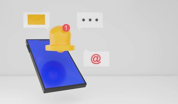 3d-rendering-smartphone mit benachrichtigungssymbol mit weißem hintergrund smart-gadget-technologie