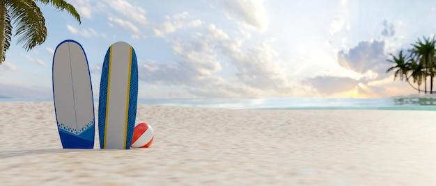 3d-rendering, sommerstrandkonzept, schöner strand mit zwei surfbrettern auf dem sand