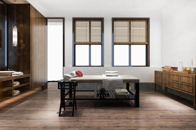 3d-rendering spa und massage wellness in der hotelsuite mit badewanne