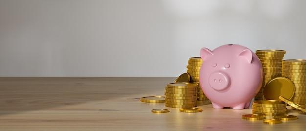 3d-rendering, spar-geld-konzept, rosa sparschwein und münzen auf holztisch mit kopierraum mit weißem wandhintergrund, 3d-illustration