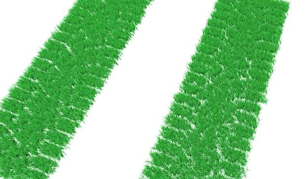 3d-rendering-spur von autoreifen, die mit grünem gras überwachsen sind