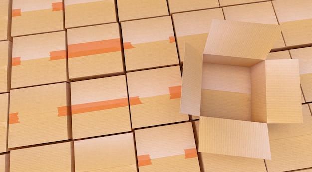 3d-rendering. stapel der pappschachteln getrennt auf weiß.