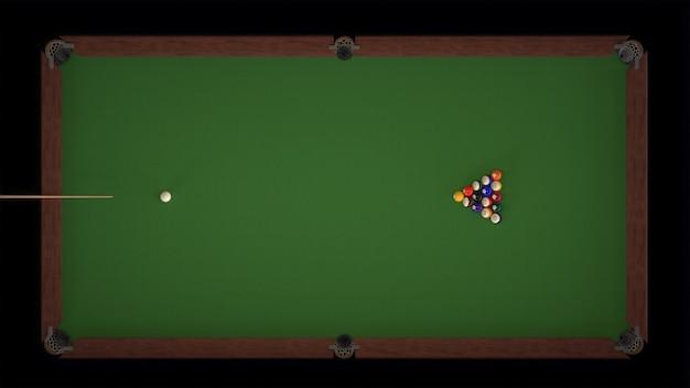 3d-rendering startaufnahme eines billardspiels draufsichten