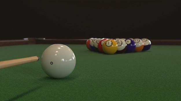 3d-rendering startaufnahme eines billardspiels