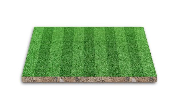 3d-rendering. streifengrasfußballfeld, grünes rasenfußballfeld, lokalisiert auf weißem hintergrund.
