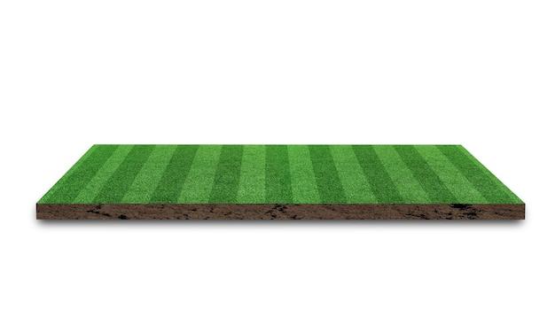 3d-rendering. streifengrasfußballplatz, grüner rasenfußballplatz, lokalisiert auf weißem hintergrund.