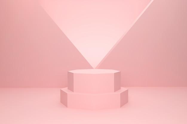3d-rendering studio rosa sechseckiges podium für die produktpräsentation mit einem dreieckigen hintergrund
