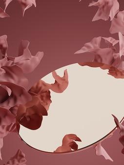 3d-rendering studio shot vintage abstrakte blütenblätter und goldener spiegel produkt display hintergrund
