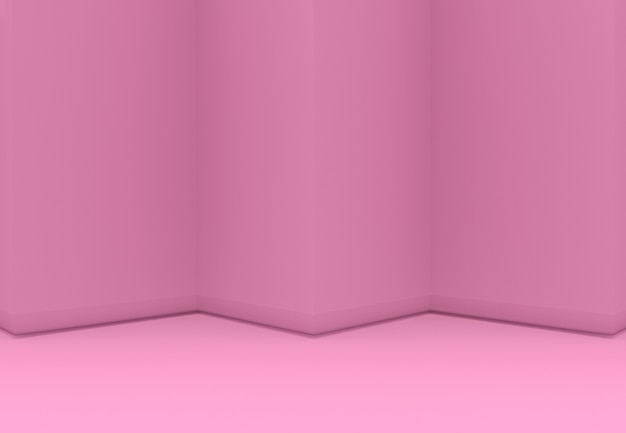 3d-rendering. süßes rosa dreieck zickzack wand und boden backgorund.