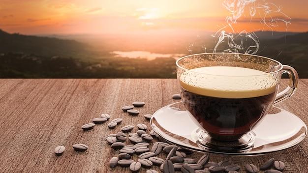 3d-rendering. tasse kaffee und kaffeebohnen auf holztisch mit natürlichem sonnenuntergang.