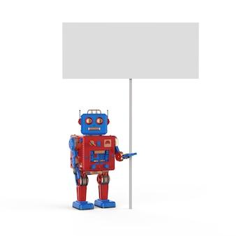 3d-rendering tintoy-roboter mit weißem leerem banner