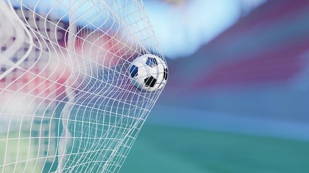 3d-rendering, tor - fußballfußball im netz im stadion