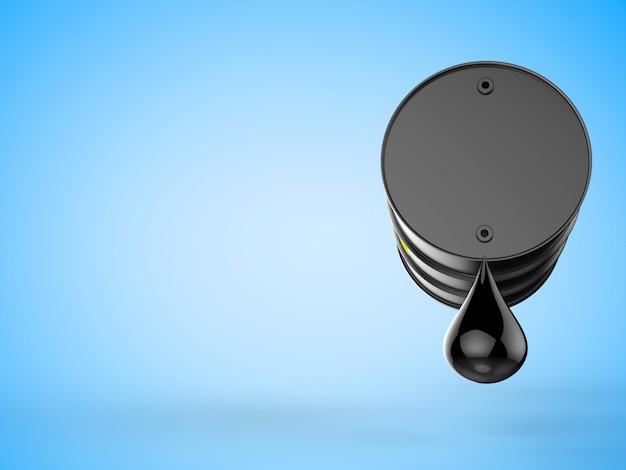 3d-rendering tröpfchen rohöl mit schwarzem fass auf blauem hintergrund
