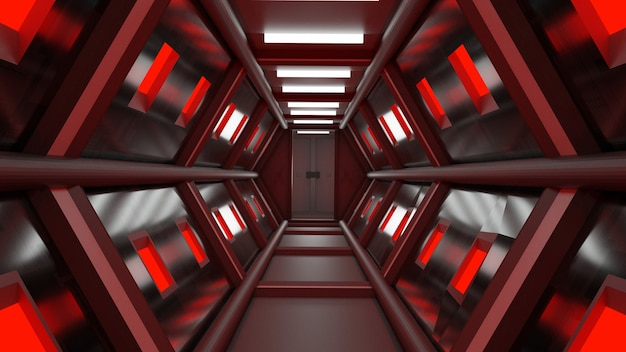 3d-rendering-tunnel high-tech-technologie sci-fi abstrakter hintergrund